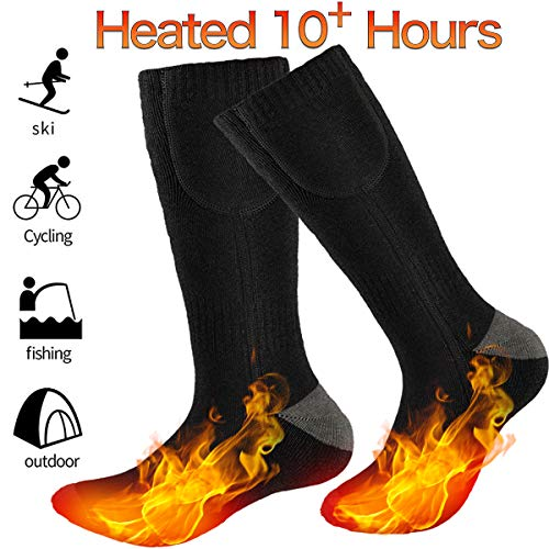 GREATSSLY Heated Socks for Men & Women, 10 Hours Continuous Heating, Rechargeable Battery Operated, Electric Heating Socks, Washable, Winter Hunting Motorcycle Ski, Arthritis Foot Warmer (Black)