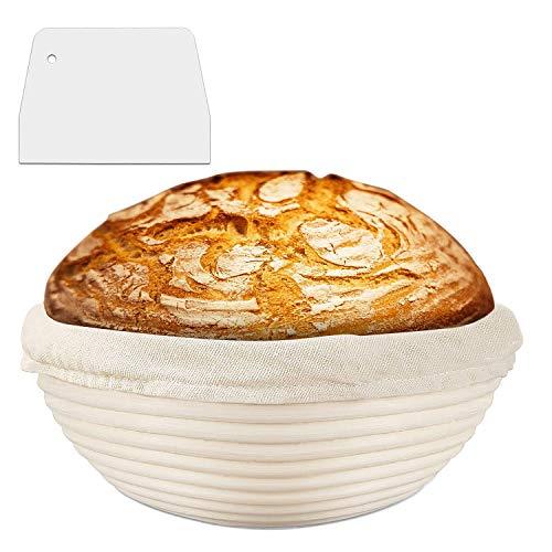 DUTISON Gärkörbchen mit Leineneinsatz +Teigschaber Brotschale Brotform Gärkorb Rund für Brot bis zu 0,8 kg Teig, Ø 22 cm