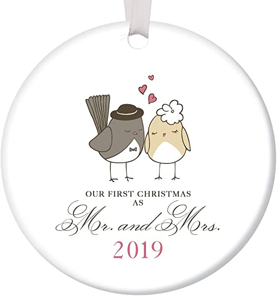 Our First Christmas As Mr Mrs Ornament 2019 Adorable Newlywed Love Birds Ceramic Keepsake Wedding Gift 1st Holiday Married Couple Present 3 Flat Porcelain With White Ribbon Free Gift Box OR00047