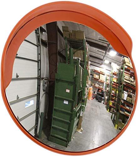 HQY verkeer buiten groothoeklens, straatspiegel veiligheid convexspiegel voor opritten grote ronde spiegel spiegel blinder vlek verkeersspiegel oranje voor 100 cm