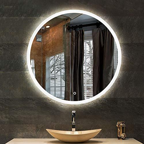 YANZEDIAN Miroir Salle De Bains Mural Miroir Lumineux LED Miroir Intelligent Éclairage LED Miroir Bassin Vanité Beauté HD Tactile sans Cadre (Lumière Intelligente À Deux Couleurs: Blanc, Chaud)