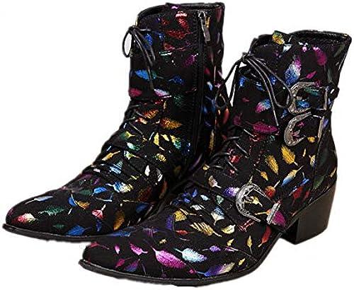 HNM schuhe Herren Cowboystiefel Stiefeletten Cowboy Stiefel Lederstiefel Schnüren Schnüren Schnüren Lederschuhe Spitzschuhe Klassisch Gold Abend Party Kleiden  kreative Produkte