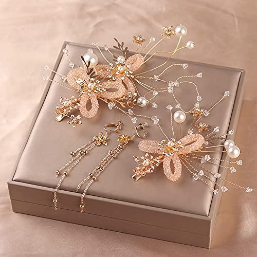 Accesorios para el cabello Pendientes conjunto tejido hecho a mano diamante perla flores boda joyería regalos para niñas