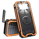 MINRISE Wireless Portable Charger, QC3.0 20W Power Bank Fast Charging 30000mAh Solar Charger, Solar Power Bank with Strong Flashlight, External Battery Pack Compatible with iPhone, Samsung, iPad, etc.