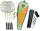 Talbot Torro 449406 Set de Badminton 4-Attacker Plus, 4 Raquetas, 3 Volantes, Juego de Red Completo, en una Valiosa Bolsa