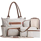 SoHo Grand Central Station Diaper Bag 7Pc, Striped