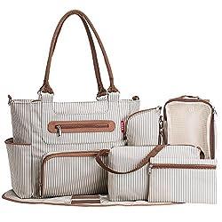 top 10 carters diaper bag 3 Soho Grand Central Station diaper bag, 7 pieces, stripes