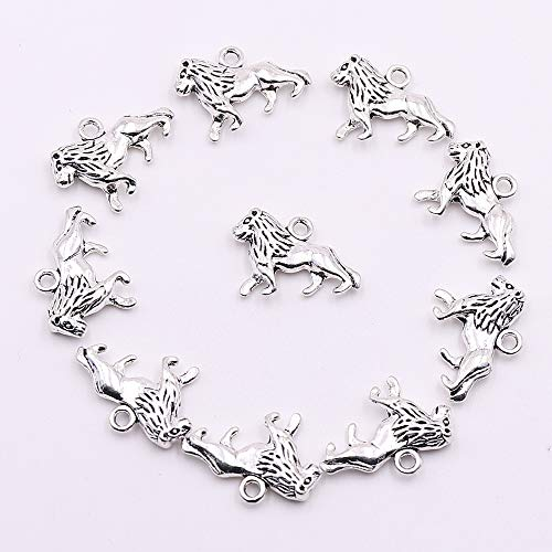 YEYULIN 30pcs Tibetan Silver Metal Animal Charms for Jewelry Making | 3 Types Lion Charms for Bracelets (30pcs Lion Charms 2)