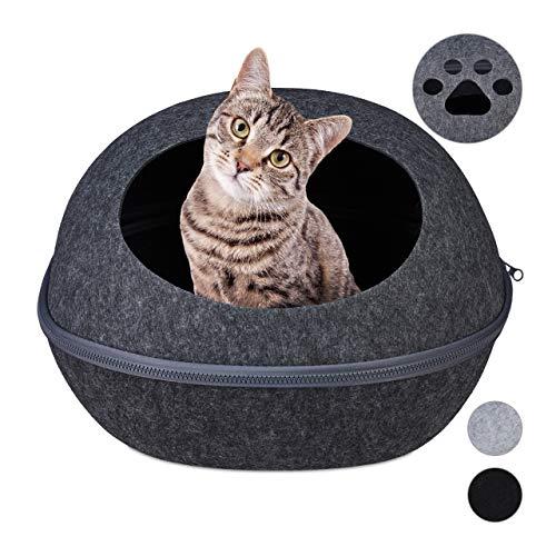 Relaxdays Kattenholle vilt, moderne vilten holle voor katten & kleine honden, kussens, kattenbed, 25 x 38 x 47 cm, antraciet, 1 stuk