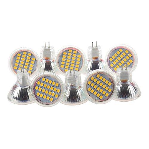 Baalaa 10pcs MR11 GU4 blanco cálido 3528 SMD 24 LED Home Spotlight Bombilla de lámpara 1W 12V
