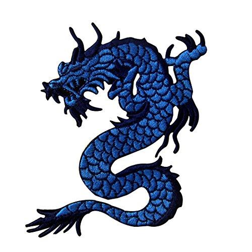 Aufnäher, bestickt, Design: Blauer Drache, zum Aufbügeln oder Aufnähen