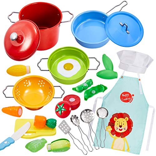 Buyger Utensilios Cocina Juguete para Niños Chef Ollas y Sartenes Juguete Acero Inoxidable con Alimentos Cortar Juguete Niños Niñas 3 4 5 Años