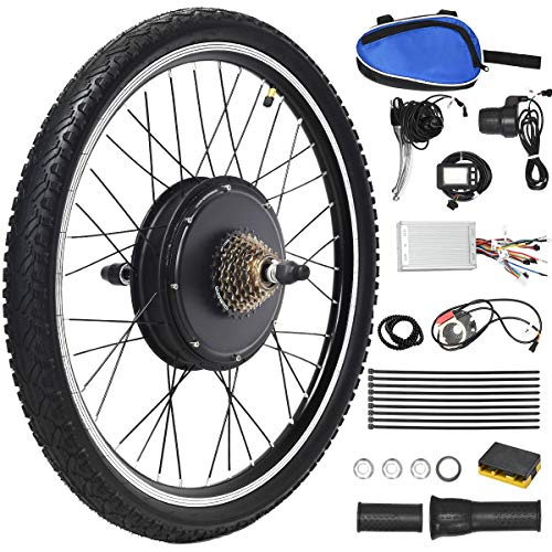 "Goplus 48V 1000W Electric Bicycle Kit, 26""x1.95"" Rear Wheel E-Bike Cycle Motor Conversion Kit Brushless Gearless Hub Motor Wheel with Intelligent Controller, LCD Display and Speed Adjustable"