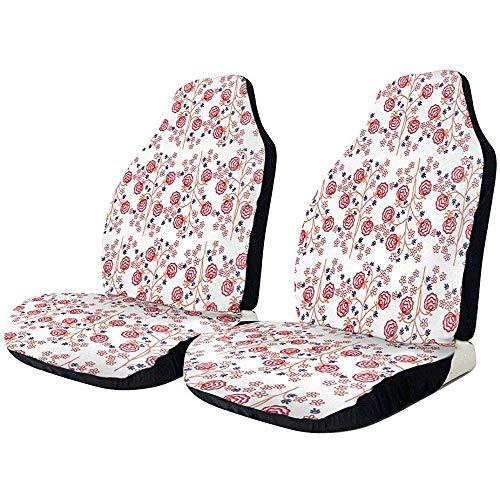 TABUE 2 stuks rode naadloze bloemenpatroon voorruit auto's, seat-beschermhoezen geschikt voor de meeste voertuigen, auto's, limousines, vrachtwagens, SUV's