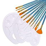 Diealles Shine Pinceles Acrilico, Juego de Pinceles de Pintura Acrílica,Pinceles Planos De Artista De Nylon para Acrílico Acuarela Pintura Al Óleo de Crafts, Azul