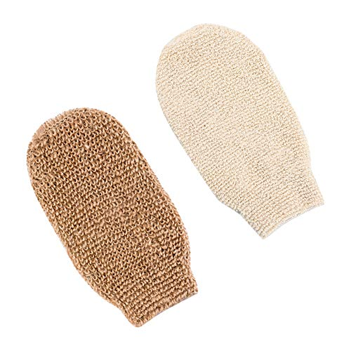2 Pcs Bath Shower Gloves Exfoliating Gloves Natural Fiber Beauty Shower Body Gloves for Body Cleaning Exfoliation