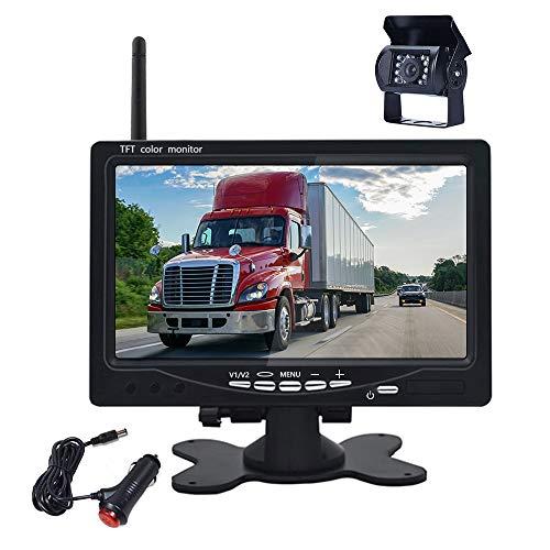 Telecamera di Retromarcia per Auto Senza Fili, 4 pin, 12 V-24 V, Podofo Telecamera Posteriore con Monitor LCD da 7', IP67 Impermeabile Visione Notturna Fotocamera per camper, camion, rimorchi, bus
