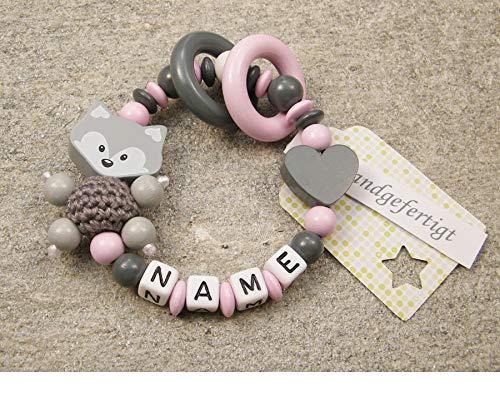Baby Greifling Beißring geschlossen mit Namen - individuelles Holz Lernspielzeug als Geschenk zur Geburt Taufe - Mädchen Motiv Fuchs und Herz in grau rosa