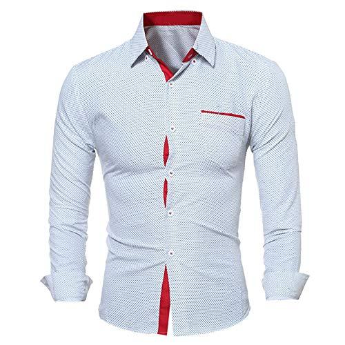 Men Shirt Slim Fit Long Sleeve Buttons Contrast Polka Dot Shirts Business Leisure Chest Pockets Tshirt Breathable Comfortable Shirt Wedding Party Kent Collar Classic Fashion Men Top