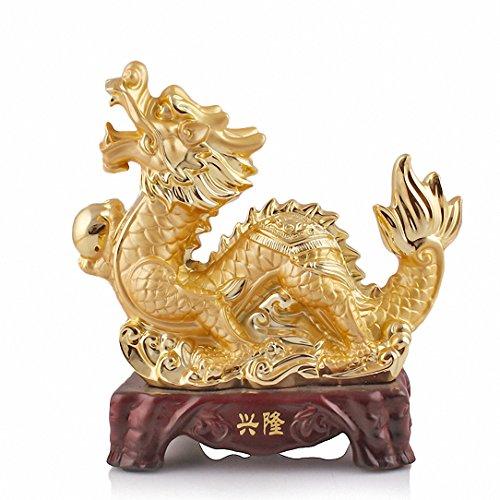 BOYULL Large Size Chinese Zodiac Dragon Golden Resin...