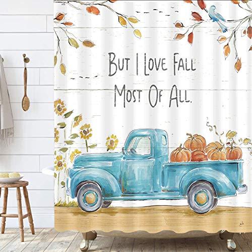 Autmn Herbst Duschvorhang, Wasserfarben Blau Auto LKW mit Kürbis Sonnenblume auf Holz Badezimmer Vorhang mit Haken, Landhausstil, wasserdichter Polyesterstoff Duschvorhang 175,3 x 177,8 cm