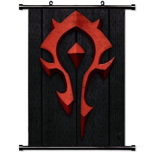 Wall Posters Wall Scroll Poster with World of Warcraft Horde Symbol Red Home Decor Fabric Painting 23.6 X 35.4 Inch