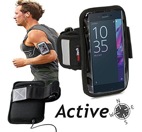 Navitech wasserdicht Schwarz Sport/Fitness/Jogging/Radfahren/Skifahren Armband Tasche Oberarmtasche Schutz Hülle Etui Case für dasSony Xperia X Compact