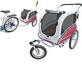 Polironeshop Argo - Rimorchio e carrello per bicicletta, per il trasporto di cani, rosso, L