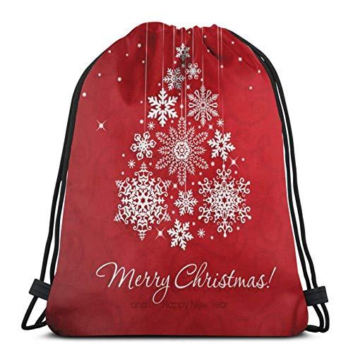 Lsjuee White Snowflake Christmas TreeSports Fitness Backpack Waterproof Men and Women Pockets Travel Yoga Beach School