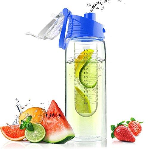 Homiu Bottiglia d'Acqua infusore di Frutta 700 millilitri Infuso di Frutta e Coperchio a Vibrazione con Manico per Il Trasporto BPA e plastica Tritan Senza tossina (Blu)