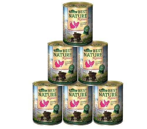 Dehner Best Nature Katzenfutter Kitten, Geflügelherzen und Reis, 6 x 400 g (2.4 kg)