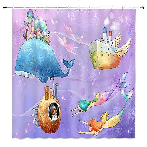 Not Applicable Cartoon Kinder Duschvorhang Meerjungfrau Ozean Thema Baby Boot Wal Kreative Süße Rosa Lila Badezimmer Vorhänge Dekor Polyester Stoff Wasserdicht 60 X 72 Zoll Inklusive Haken