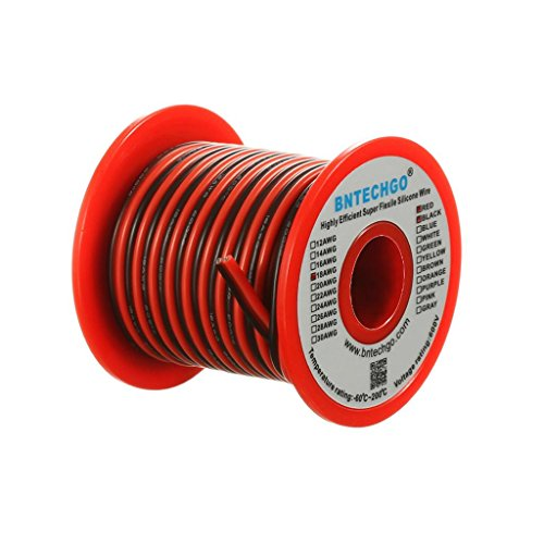 BNTECHGO 18 Gauge Flexible 2 Conductor Parallel Silicone Wire Spool Red Black High Resistant 200 deg C 600V for Single Color LED Strip Extension Cable Cord,model,25ft Stranded Copper Wire