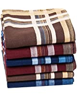 Houlife Men's 100% 60s Cotton Striped Checked Pattern Handkerchief with Assorted Color Soft Vintage Hankie