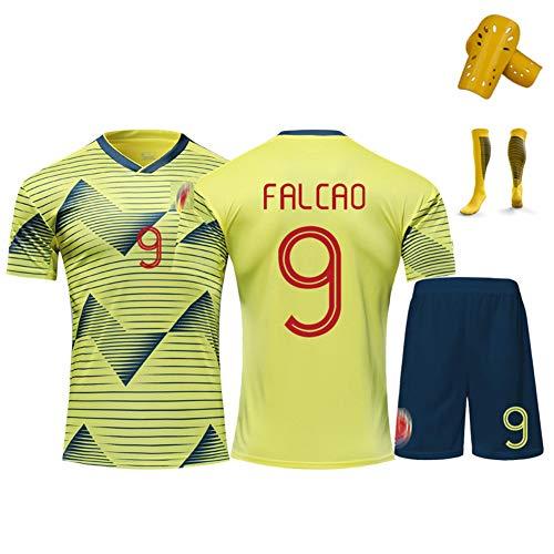 Ropa de fútbol para adultos y niños, Falcao 9 James 10 Cuadrado 11 equipo de camisetas de fútbol para fanáticos, para Colombia Uniforme de fútbol Ropa deportiva Conjunto camiseta, pantalones cort