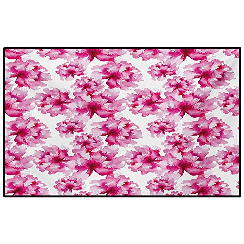 Watercolor outdoor rugs for patios kitchen rugs and mats Abstract Floral Arrangement Peonies Pattern Botany Themed and Nature Inspired for Living Room Bedroom Bathroom Kitchen Laundry Dorm Pink Magent