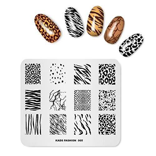 Alexnailart Piatti di arte del chiodo Leopardato zebra serpente Immagine modelli Stencil per stampa delle unghie Strumento di trasferimento manicure