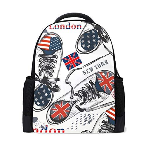 ISAOA Kinder Rucksack Schultasche für Mädchen Jungen, modisches nahtloses Muster mit Sportschuhen, Dekoration, lässiger Rucksack, Tagesrucksack, Laptoprucksäcke