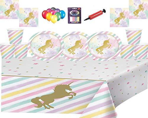Magical Unicorn Sparkle Licorne Magique Sparkle Party Vaisselle-Assiette, Tasses, Serviettes, Housse de Table Avec Ballons Libres de Bougies et Pompe à Ballons-16 Invités