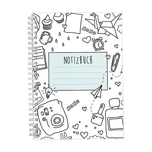 CUPCAKES & KISSES® Notizbuch I Ringbuch I liniert I DIN A5 I weiße Spiralbindung I 120 Seiten I für Mädchen und Frauen I Tagebuch I Softcover türkis