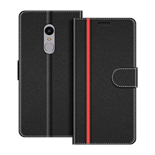 COODIO Handyhülle für Xiaomi Redmi Note 4 Handy Hülle, Xiaomi Redmi Note 4 Hülle Leder Handytasche für Xiaomi Redmi Note 4 Klapphülle Tasche, Schwarz/Rot