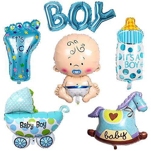 Liitata Gender Reveal Party Decorazione Blu gigante a forma di bottiglia di benvenuto a forma di bottiglia di ciuccio piedi Boy Alfabeto Cavallo a dondolo, Palloncini per la gravidanza