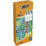 BIC 4 Colours Velours Penne A Sfera Con Motivo Giungla E Punta Media (1,0 mm) - Confezione Da 12