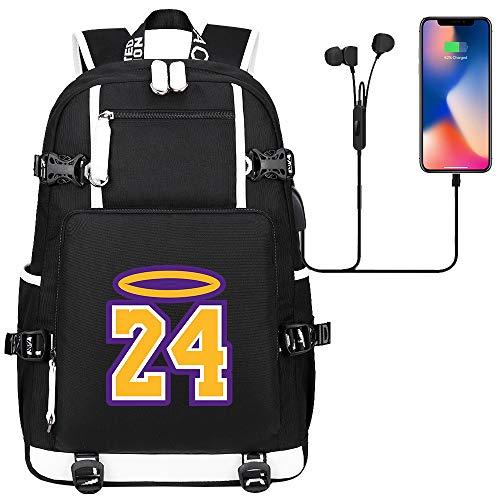 DDDWWW Outdoor Sports Hiking Rucksack Basketball Star Kobe Bean Bryant Knapsack Multifunctional Waterproof School Bag Laptop Backpack Unisex Style 296