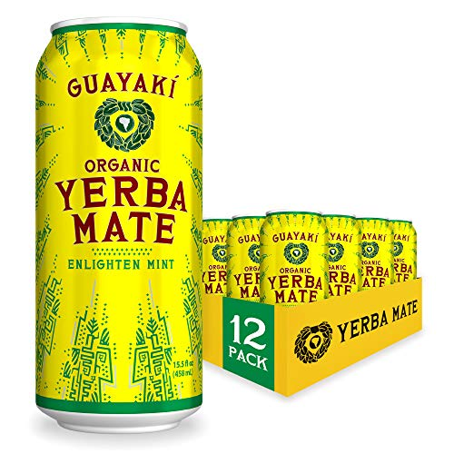 Guayaki Yerba Mate, Enlighten Mint, Organic Alternative to Energy, Coffee and Tea Drinks, 15.5 Ounce Cans, (Pack of 12), 150mg Caffeine