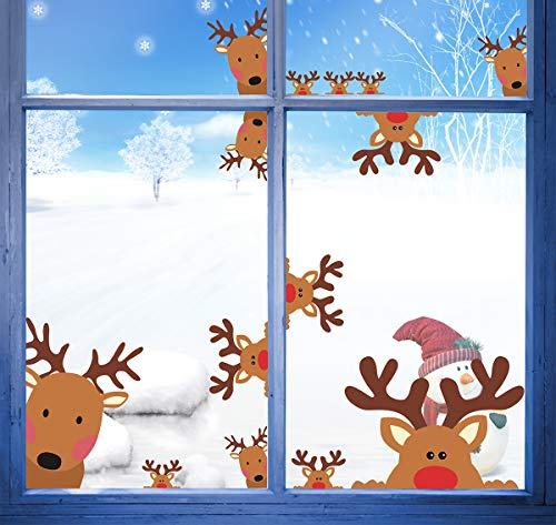Reindeer Window Decals 26pcs Christmas Rudolph Decals Christmas Wall Decals Reindeer Decal Car Decals Christmas Home Decor