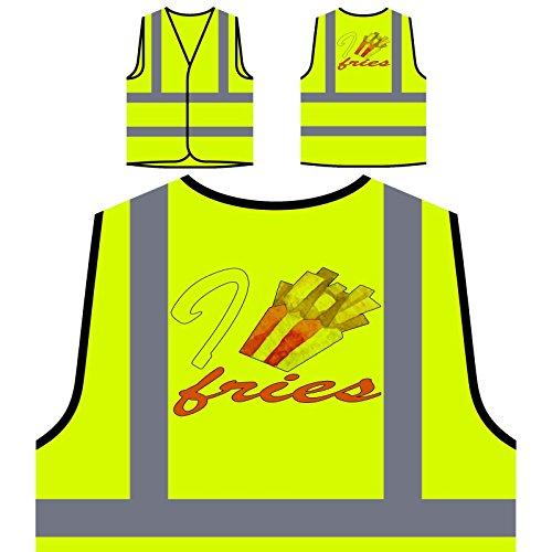 Amo Papas Fritas Chaqueta de seguridad amarillo personalizado de alta visibilidad p116v