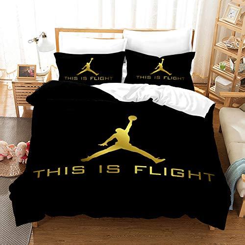 Basketball Bettwäsche Bettbezug Sets, 3D Digital Printed Sports Bettbezug Sets für Teens Adult Fans (kein Tröster kein Blatt),A,135 * 200cm