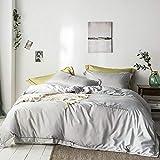 LDDPP Juego de edredón, King, color liso, bordado de 4 piezas de seda de cielo lavado, lavable a máquina, antiarrugas y no se decolora., Gris Colonia, 1.5m (5ft)/1.8m(6ft) bed