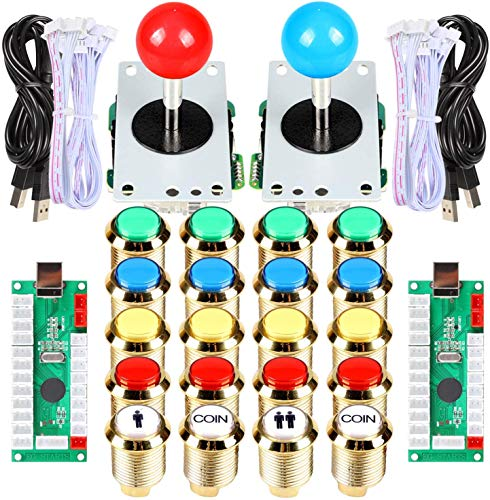 Arcade Buttons Joystick DIY Kit Part 5Pin 8 Way Joystick 18 Gold Plating LED Illuminated Push Button 1 2 Player Coin 30mm Gilded Lights Buttons For Arcade MAME Arcade Cabinet Raspberry Pi 2 3 3B